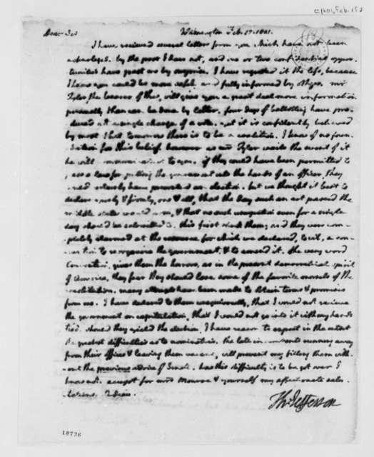 Thomas Jefferson to James Monroe, February 15, 1801