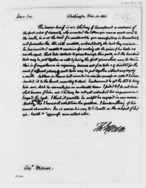 Thomas Jefferson to James Monroe, November 14, 1801