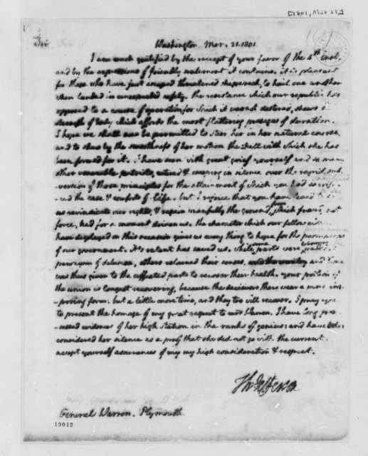 Thomas Jefferson to James Warren, March 21, 1801