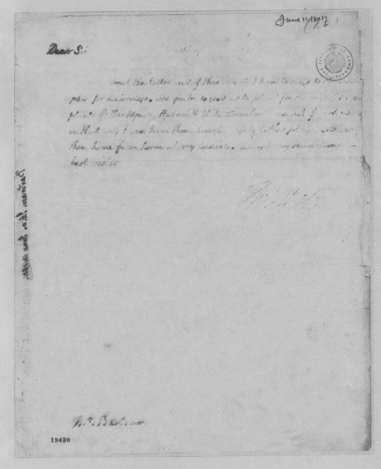 Thomas Jefferson to John Bartram, June 11, 1801