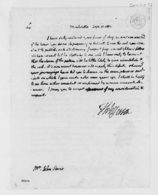 Thomas Jefferson to John Davis, September 11, 1801