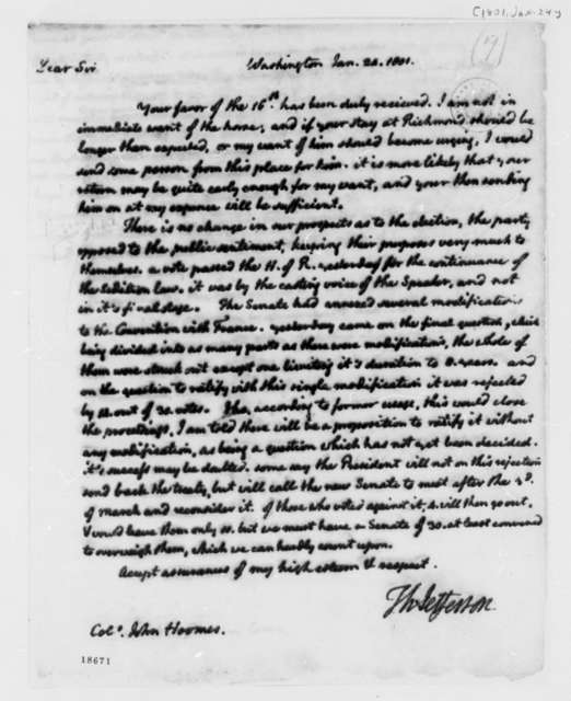 Thomas Jefferson to John Hoomes, January 24, 1801, Partial Transcription Available