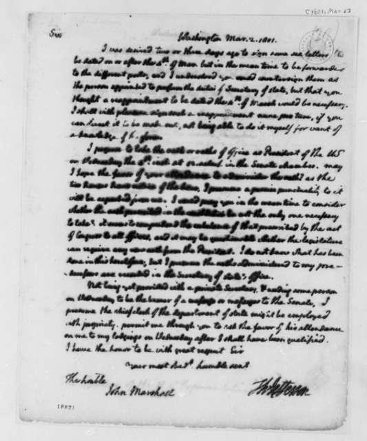 Thomas Jefferson to John Marshall, March 2, 1801