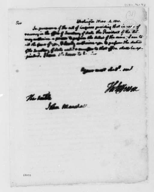 Thomas Jefferson to John Marshall, March 4, 1801