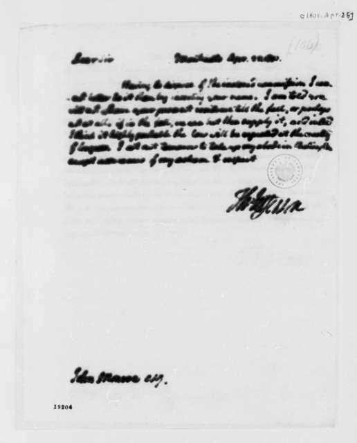 Thomas Jefferson to John Monroe, April 25, 1801