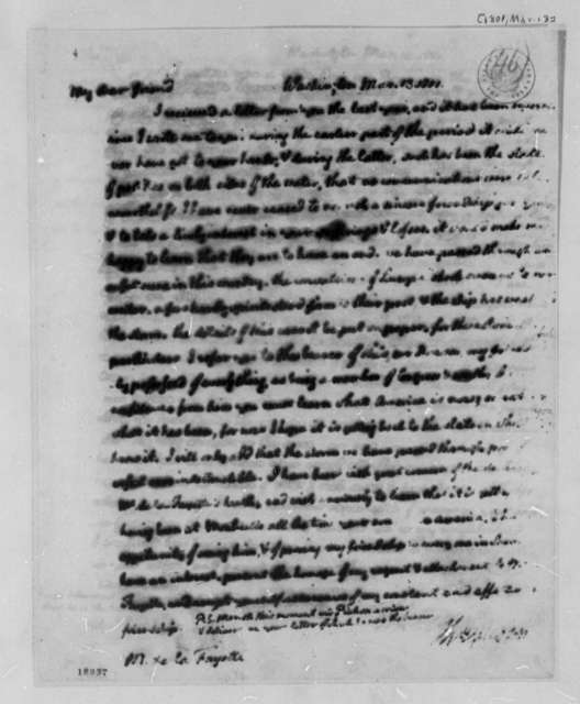 Thomas Jefferson to Marie Joseph Paul Yves Roch Gilbert du Motier, Marquis de Lafayette, March 13, 1801