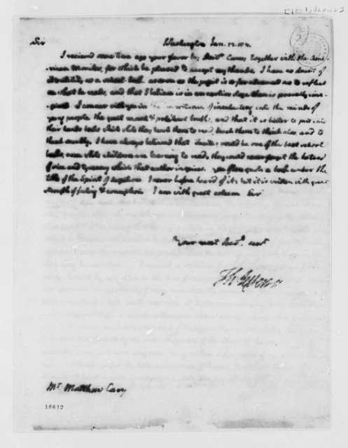 Thomas Jefferson to Mathhew Carey, January 12, 1801