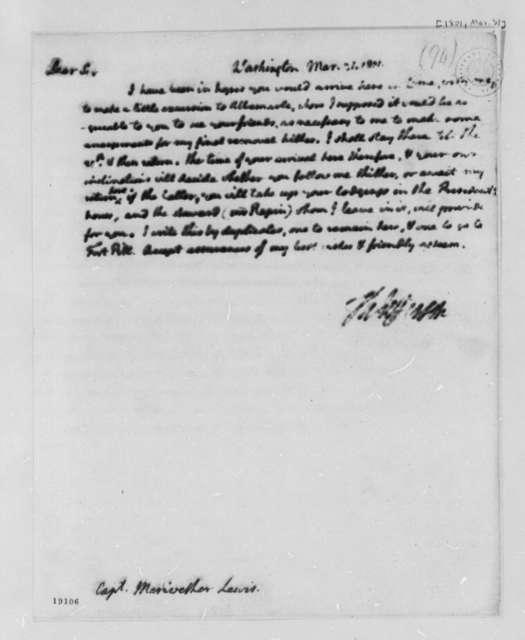 Thomas Jefferson to Meriwether Lewis, March 31, 1801