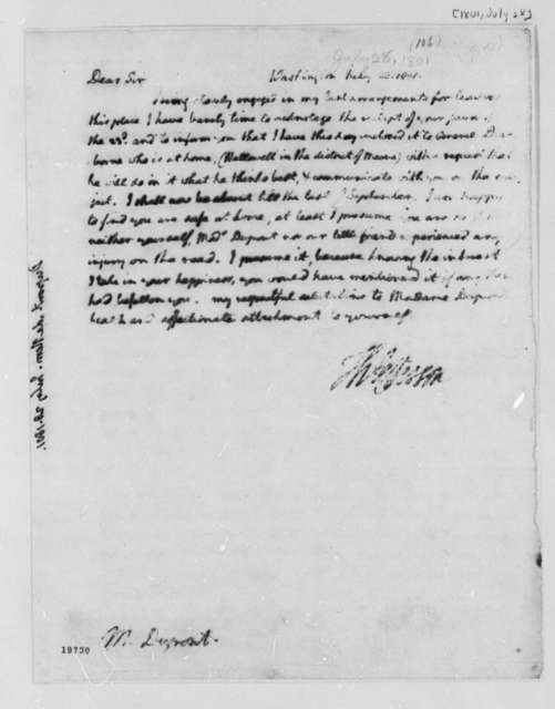 Thomas Jefferson to Pierre Samuel Dupont de Nemours, July 28, 1801