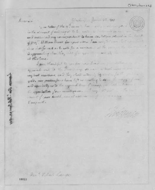Thomas Jefferson to Robert Lawson, June 22, 1801, Illegible