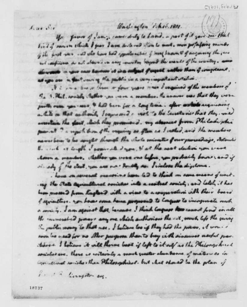 Thomas Jefferson to Ronert R. Livingston, February 16, 1801