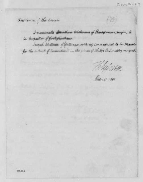 Thomas Jefferson to Senate, December 11, 1801