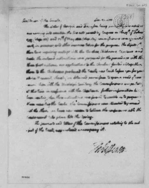 Thomas Jefferson to Senate, December 22, 1801