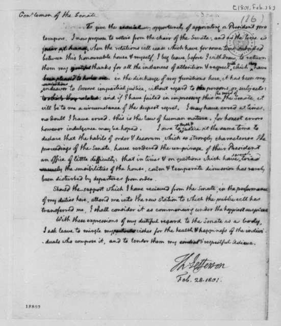 Thomas Jefferson to Senate, February 28, 1801