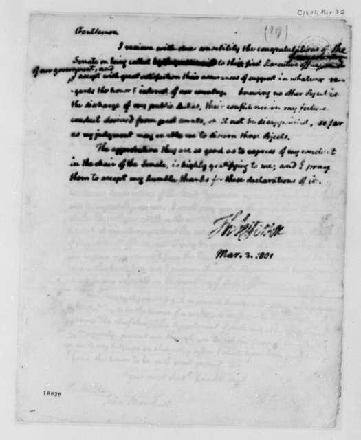 Thomas Jefferson to Senate, March 3, 1801