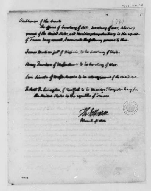 Thomas Jefferson to Senate, March 5, 1801