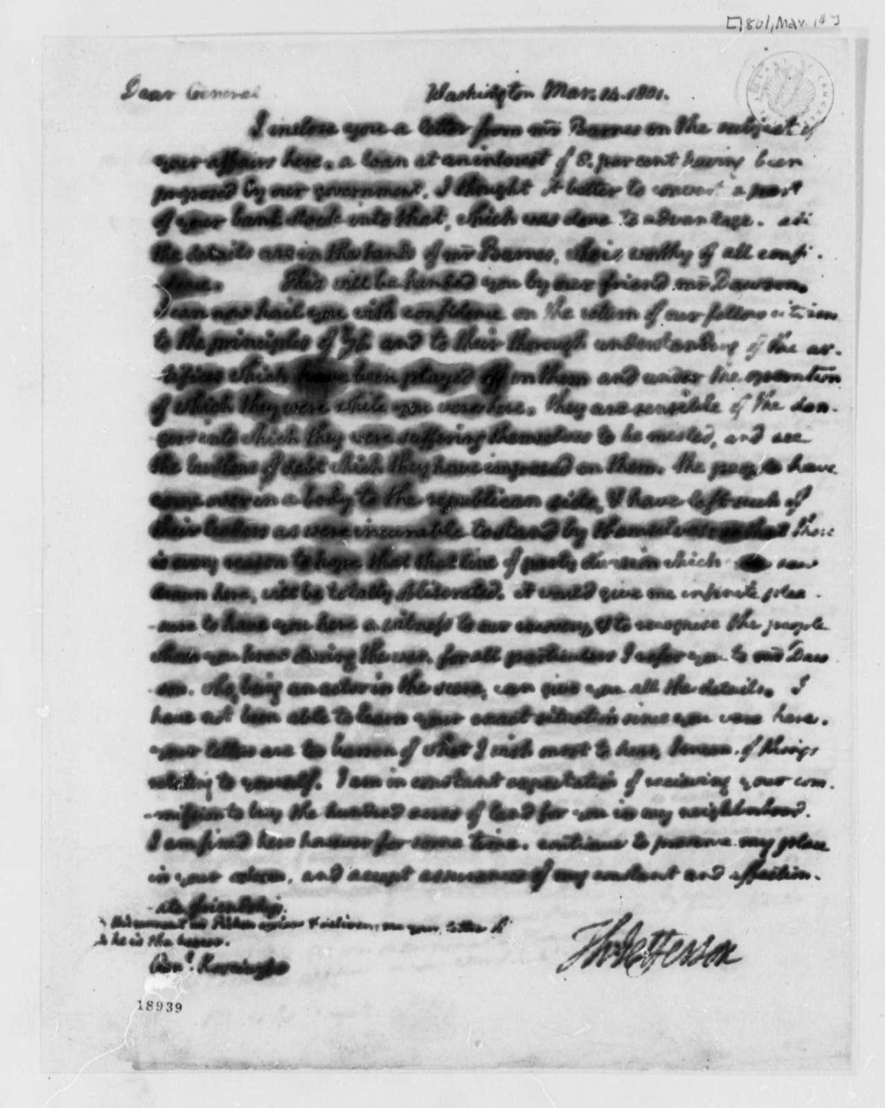 Thomas Jefferson to Thaddeus Kosciuszko, March 14, 1801