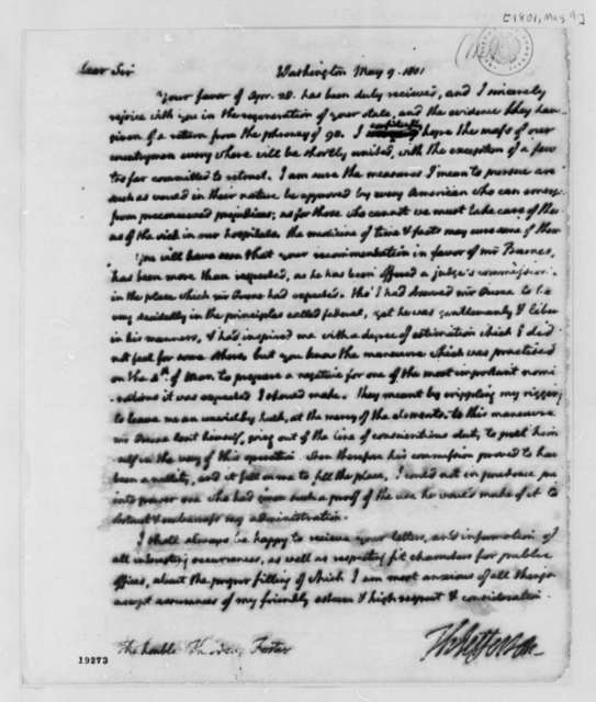 Thomas Jefferson to Theodore Foster, May 9, 1801