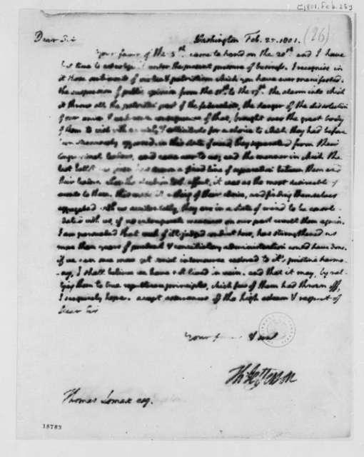 Thomas Jefferson to Thomas Lomax, February 25, 1801