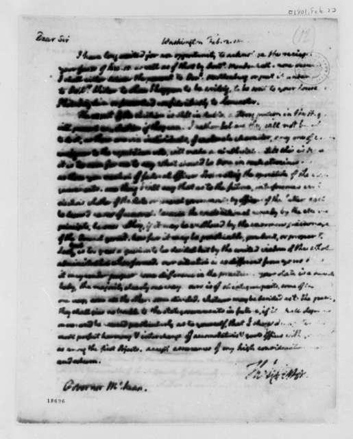 Thomas Jefferson to Thomas McKean, February 2, 1801