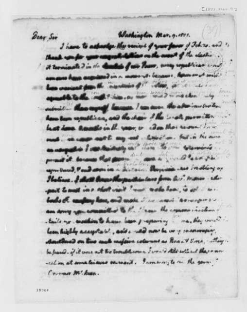 Thomas Jefferson to Thomas McKean, March 9, 1801
