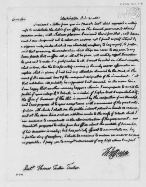Thomas Jefferson to Thomas Tudor Tucker, October 31, 1801