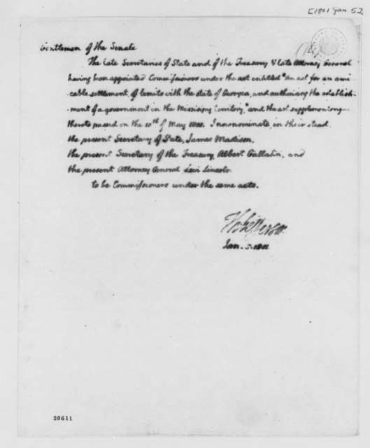 Thomas Jefferson to United States Senate, January 5, 1801