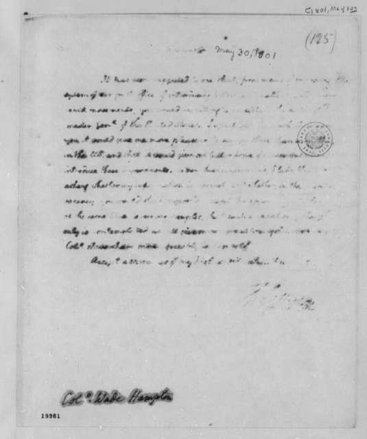 Thomas Jefferson to Wade Hampton, May 30, 1801