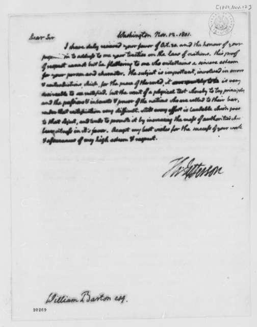 Thomas Jefferson to William Barton, November 12, 1801
