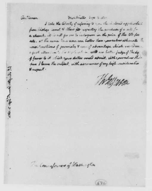 Thomas Jefferson to William Thornton, Alexander White, and Tristam Dalton, Commissioners, September 3, 1801