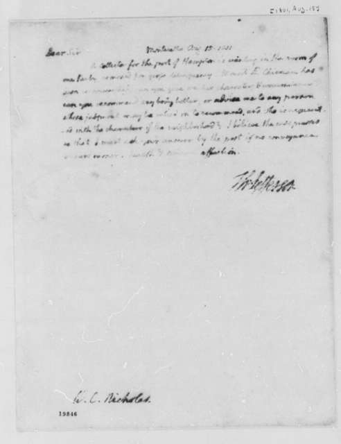 Thomas Jefferson to Wilson Cary Nicholas, August 15, 1801