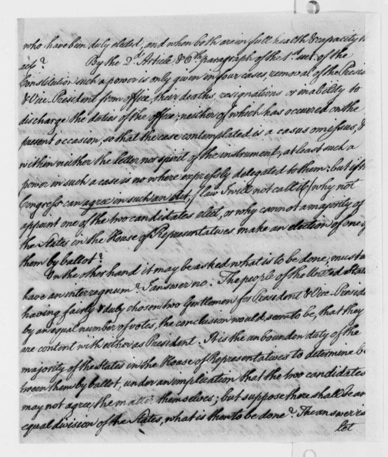 Thomas McKean to Thomas Jefferson, January 10, 1801