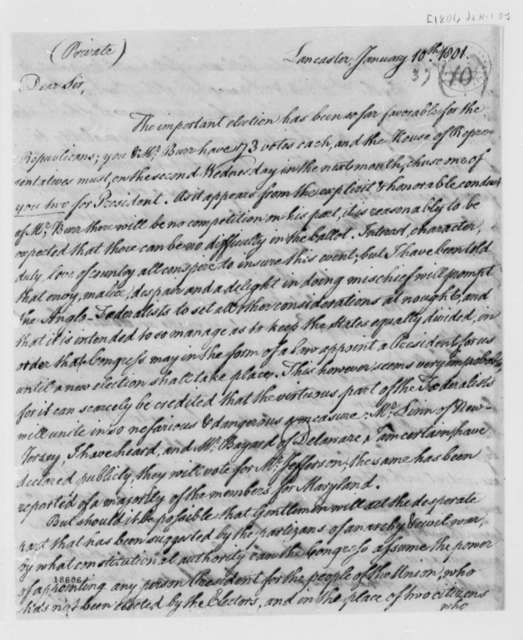 Thomas McKean to Thomas Jefferson, January 10, 1801