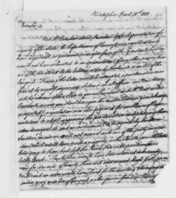 Thomas McKean to Thomas Jefferson, March 21, 1801