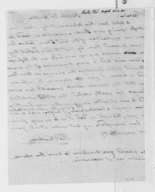 Thomas Newton to Samuel Brown, October 16, 1801