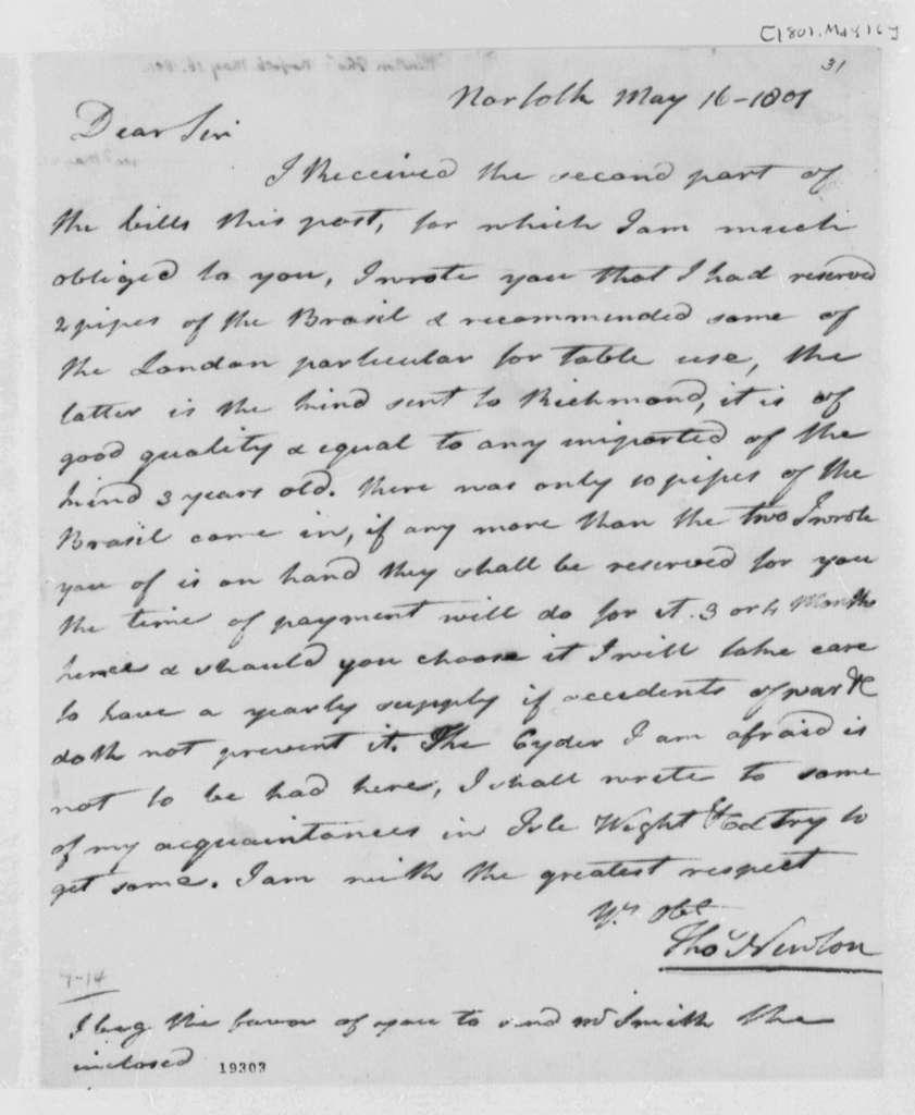 Thomas Newton to Thomas Jefferson, May 16, 1801