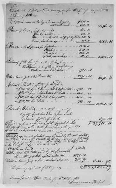 Thomas Thomas Munroe, Superintendent of the City to Thomas Jefferson, October 2, 1801