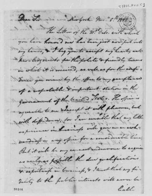 Thomas Tudor Tucker to Thomas Jefferson, November 5, 1801