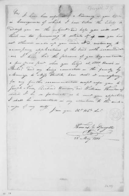 Thomas Y. Sprogell to James Madison, May 22, 1801.