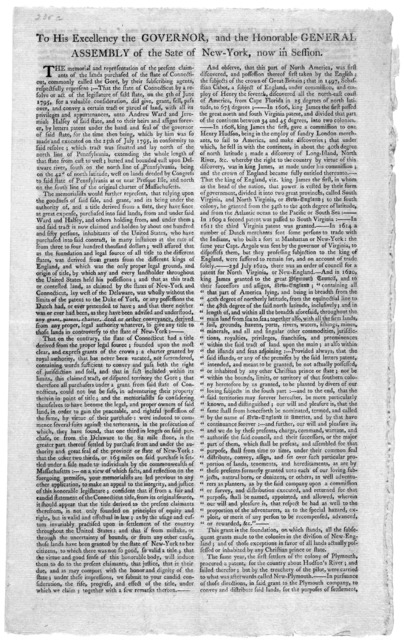 To his excellency the Governor, and the Honorable General Assembly of the State of New-York, now in session. The memorial and representation of the present claimants of the lands purchased of the state of Connecticut, commonly called the Gore, b