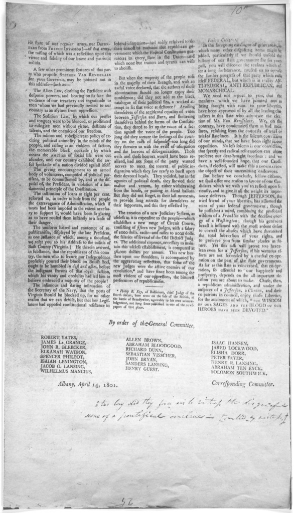 To the electors of the County of Albany, and of the Eastern district in general. Fellow-citizens.  The Republican general committee of Albany, take the liberty to address you once more on the subject of the ensuing election. In our last address
