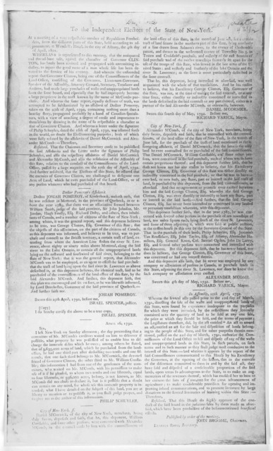 To the independent electors of the State of New-York. At a meeting of a very respectable number of Republican freeholders, from the different parts of this State, held according to adjournment, at Wendell's hotel, in the City of Albany, the 4th