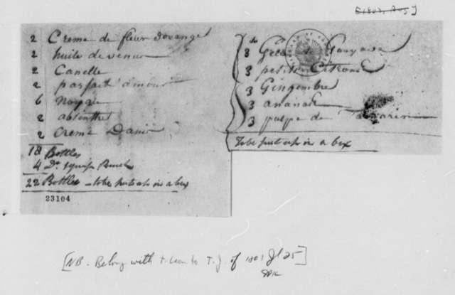 Tobias Lear to Thomas Jefferson, July 25, 1801, with Bills