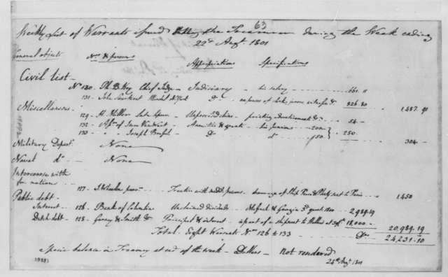 Treasury Department, August 22, 1801, Warrants for Week Ending August 22, 1801