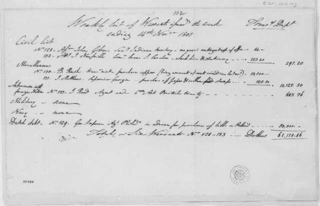 Treasury Department, November 14, 1801, Weekly Warrants List