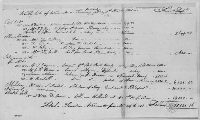 Treasury Department, November 7, 1801, Weekly Warrants List