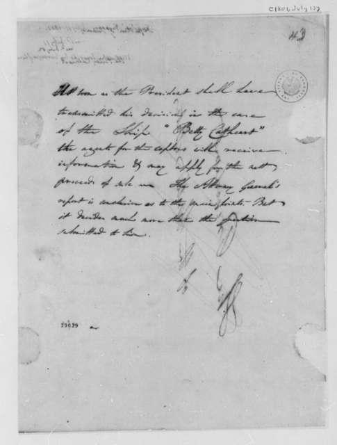 Treasury Department to Thomas Jefferson, July 13, 1801