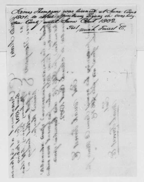 U. S. District Court James Thompson, September 1801, Court License for Retail