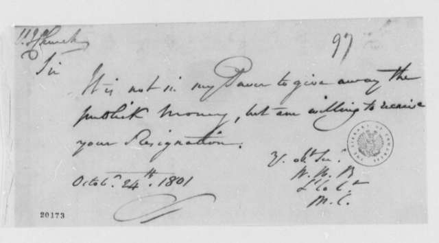 W. W. Burrows to Jonathan Church, October 24, 1801, Enclosure