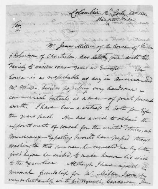 Wade Hampton to James Madison, July 12, 1801.